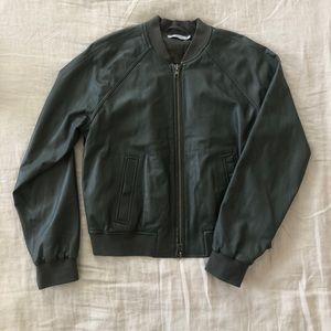 VINCE Olive Green Leather Bomber Jacket